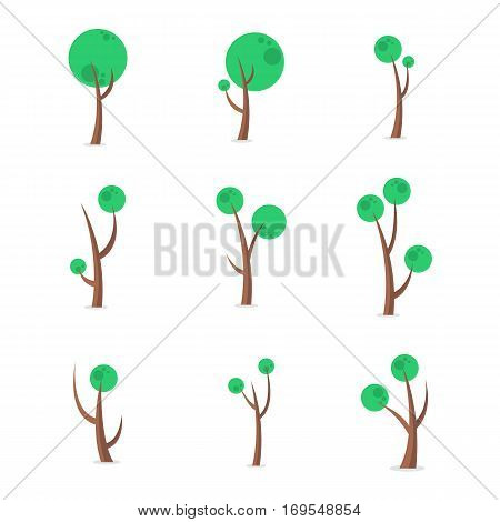 Set of green tree vector art collection stock