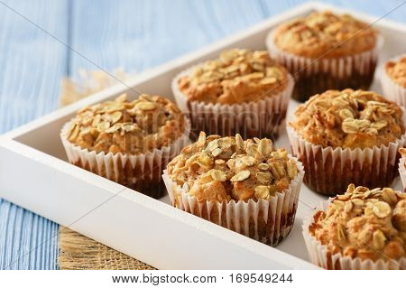 Oat muffins with apples and cinnamon .