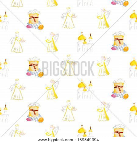 easter pattern with angels, church, easter cake and eggs watercolor isolated