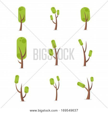 Set of tree vector illustration collection stock