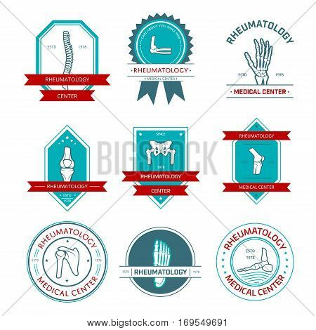 Rheumatology and orthopedics medical center badge set. Leg, hand, foot, spine, knee, elbow, pelvis, shoulder bone and joint, framed by seal stamp and shield with ribbon banner, star