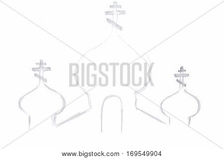 pencil drawing church or temple silhouette isolated