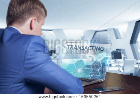 Business, Technology, Internet And Network Concept. Business Man Working On The Tablet Of The Future
