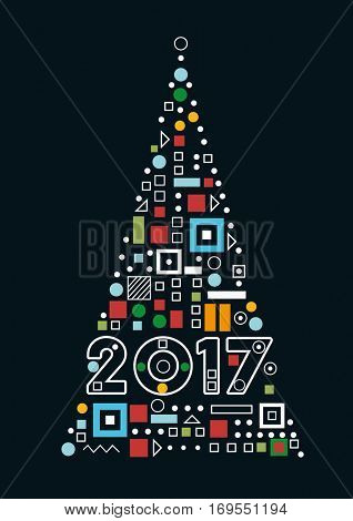 Christmas Tree, Postcard Design. New Year 2017