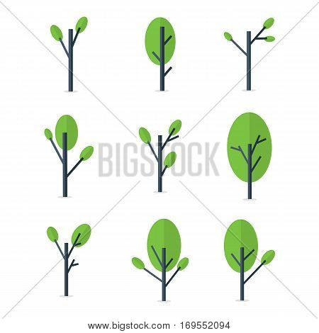 Tree style set of vector flat collection stock