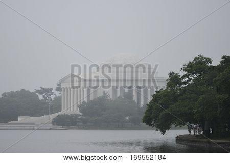 Washington DC - Thomas Jefferson Memorial in a foggy winter day