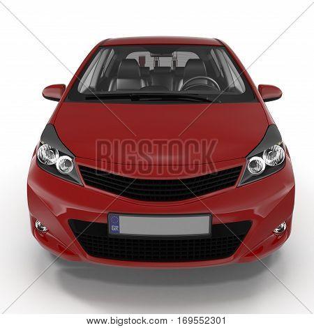 Generic hatchback car on white background. Front view. 3D illustration