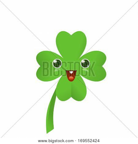 Vector illustration of four leaved green emoji clover for saint Patricks day greeting isolated on white background
