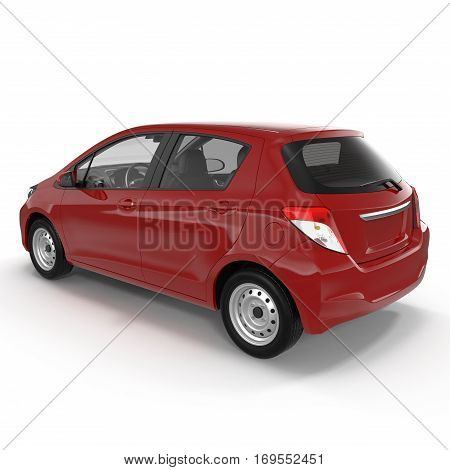 Generic hatchback car on white background. Rear view. 3D illustration