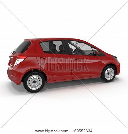 Generic hatchback car on white background. 3D illustration