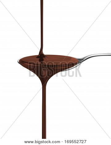chocolate syrup on a spoon  isolated on white background