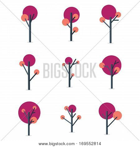 Vector flat of tree style set collection stock
