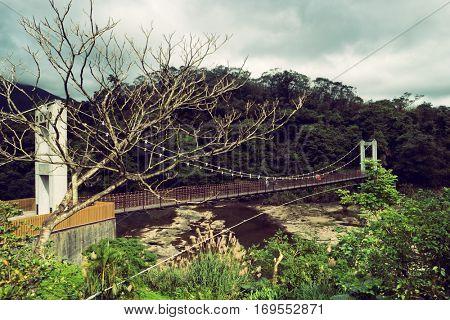 Suspension bridge in Shifen village. Taiwan 2016