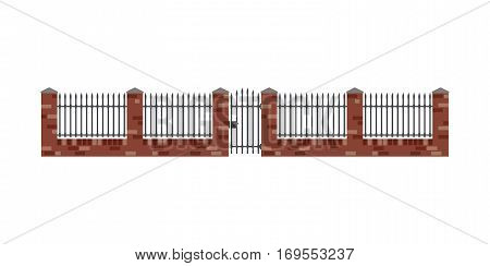 Brick fence and gate in flat style. Brickwal with metal bars.
