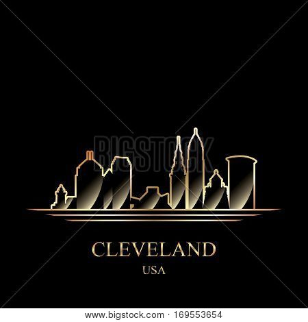 Gold Silhouette Of Cleveland On Black Background