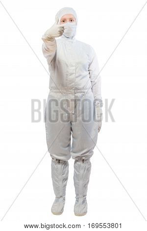 successful chemist in a suit posing on a white background isolated
