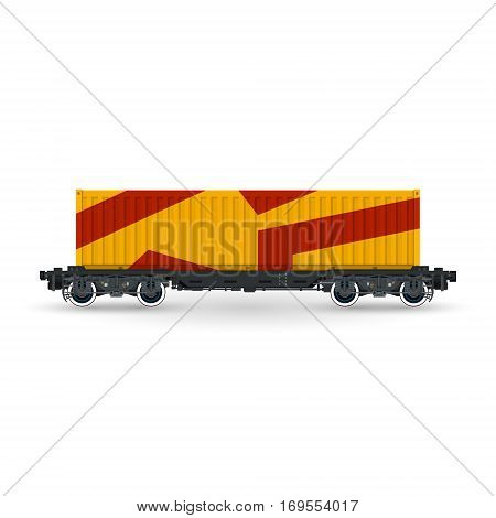 Orange Railway Container on Platform Isolated on White Background, Railway and Container Transport ,Vector Illustration
