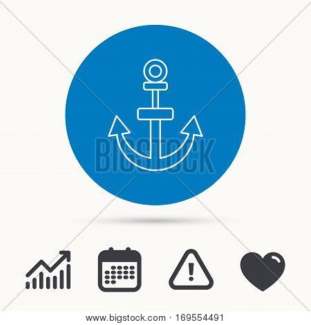 Anchor icon. Nautical drogue sign. Sea and sailing symbol. Calendar, attention sign and growth chart. Button with web icon. Vector