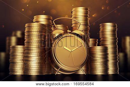 Alarm clock with golden coins .3d render