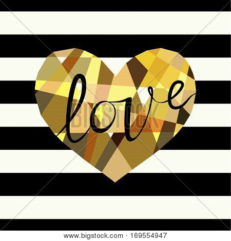 Cover design greeting cards for Valentine's day. Picture of a multicolor heart and the word love in black. Multicolor heart on the striped black and white background.