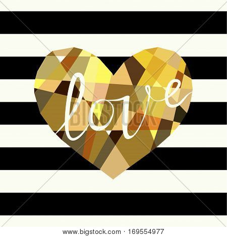 Cover design greeting cards for Valentine's day. Picture of a multicolor heart and the word love in white. Multicolor heart on the striped black and white background.