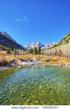 Maroon Lake Colorado mountain landscape in USA.