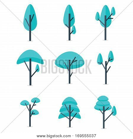 Set of tree style various vector collection stock