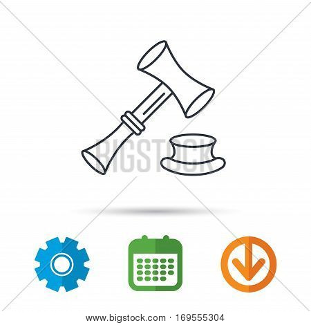 Auction hammer icon. Justice and law sign. Calendar, cogwheel and download arrow signs. Colored flat web icons. Vector