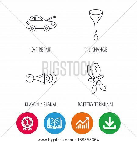Car repair, oil change and signal icons. Klaxon signal, battery terminal linear signs. Award medal, growth chart and opened book web icons. Download arrow. Vector