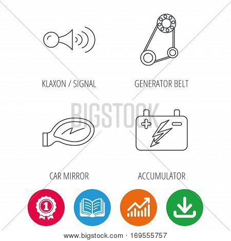 Accumulator, klaxon signal and generator belt icons. Accumulator linear sign. Award medal, growth chart and opened book web icons. Download arrow. Vector