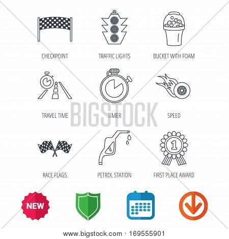 Race flags and speed icons. Winner medal, checkpoint and traffic lights linear signs. Timer and petrol station flat line icons. New tag, shield and calendar web icons. Download arrow. Vector