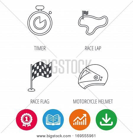 Race flag, timer and motorcycle helmet icons. Race lap linear sign. Award medal, growth chart and opened book web icons. Download arrow. Vector