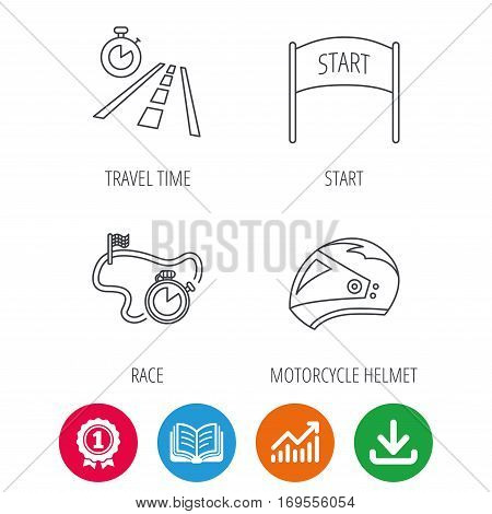 Motorcycle helmet, race timer and travel time icons. Start race linear sign. Award medal, growth chart and opened book web icons. Download arrow. Vector