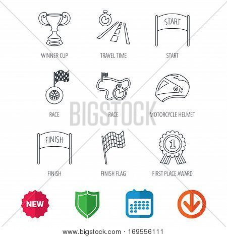 Winner cup and award icons. Race flag, motorcycle helmet and timer linear signs. Road travel, finish and start flat line icons. New tag, shield and calendar web icons. Download arrow. Vector