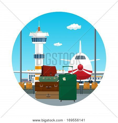Icon ,View on Airplane and Control Tower through the Window from a Waiting Room with Retro Colored Suitcases and Trolley Suitcase and Travel Bag, Luggage Bags for Traveling, Travel and Tourism