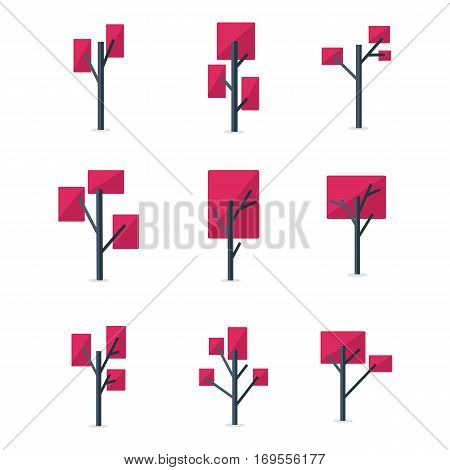 Collection stock of red tree style vector illustration