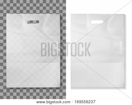 Empty Transparent Plastic Pocket Bags,  vector illustration .
