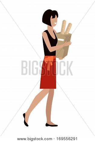Woman with shopping package in flat. Smiling woman in red skirt and black blouse. Woman daily shopping, supermarket shopping, customer in mall, retail store isolated illustration on white background.