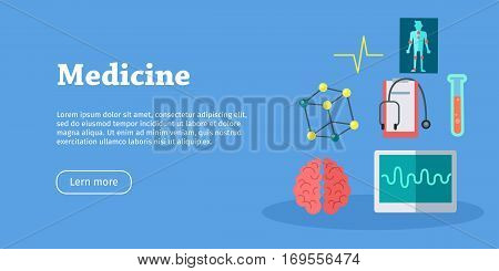 Medicine science banner. Medical flasks and bottles, medicinal substances, preparations, devices, equipment elements. Scientific treatment concept. Health care. Vector illustration in flat style