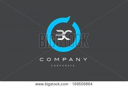 BC letter combination alphabet blue circle vector logo icon sign design template