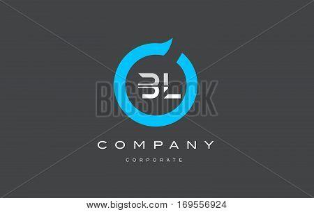 BL letter combination alphabet blue circle vector logo icon sign design template