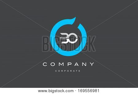 BO letter combination alphabet blue circle vector logo icon sign design template