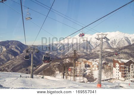 Sochi, Russia - 1 January, Crossroads mountain cableways, 1 January, 2017. Winter mountain ski resort Rosa Khutor.