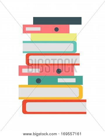 Stack of papers. Large number of business documents with bookmarks. Colorful binders.Paper work, office routine, bureaucracy concept. Flat design. Illustration for data, e-mail, management, services.