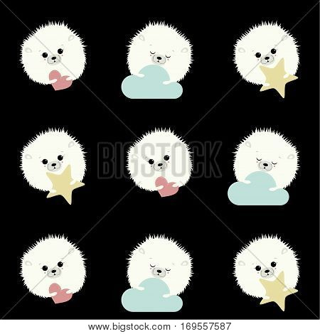 Seamless background for children . You can apply for Valentine's day.Cute animals are depicted with open and closed eyes, holding in the paws a pink heart, a blue cloud and yellow star.