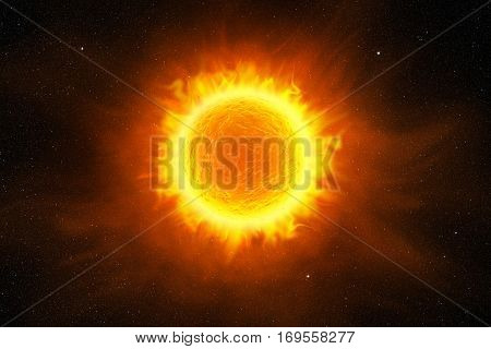 sun flaming in the starry night sky, 3d illustration