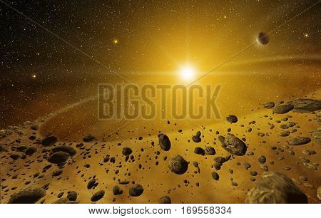 3d illustration of shining explosion and scattered rocks in the outer space