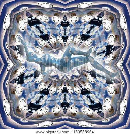 Surreal painting. Kaleidoscope of clocks. Figure of woman falls down..  3D Render