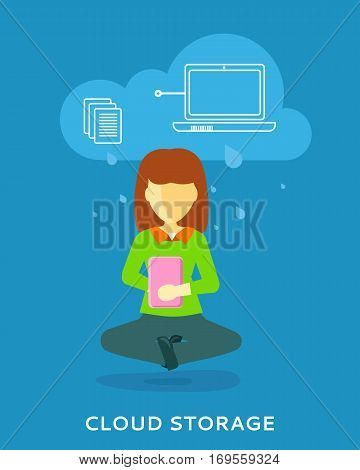 Cloud storage design concept. Woman uses cloud storage on tablet. Storage and cloud computing backup online data network internet web storage connection. Vector design illustraion in flat style