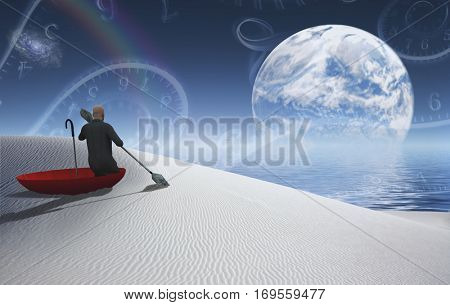 Surreal painting. Man in red umbrella floating on white desert. Big moon rising above ocean..  3D Render  Some elements provided courtesy of NASA
